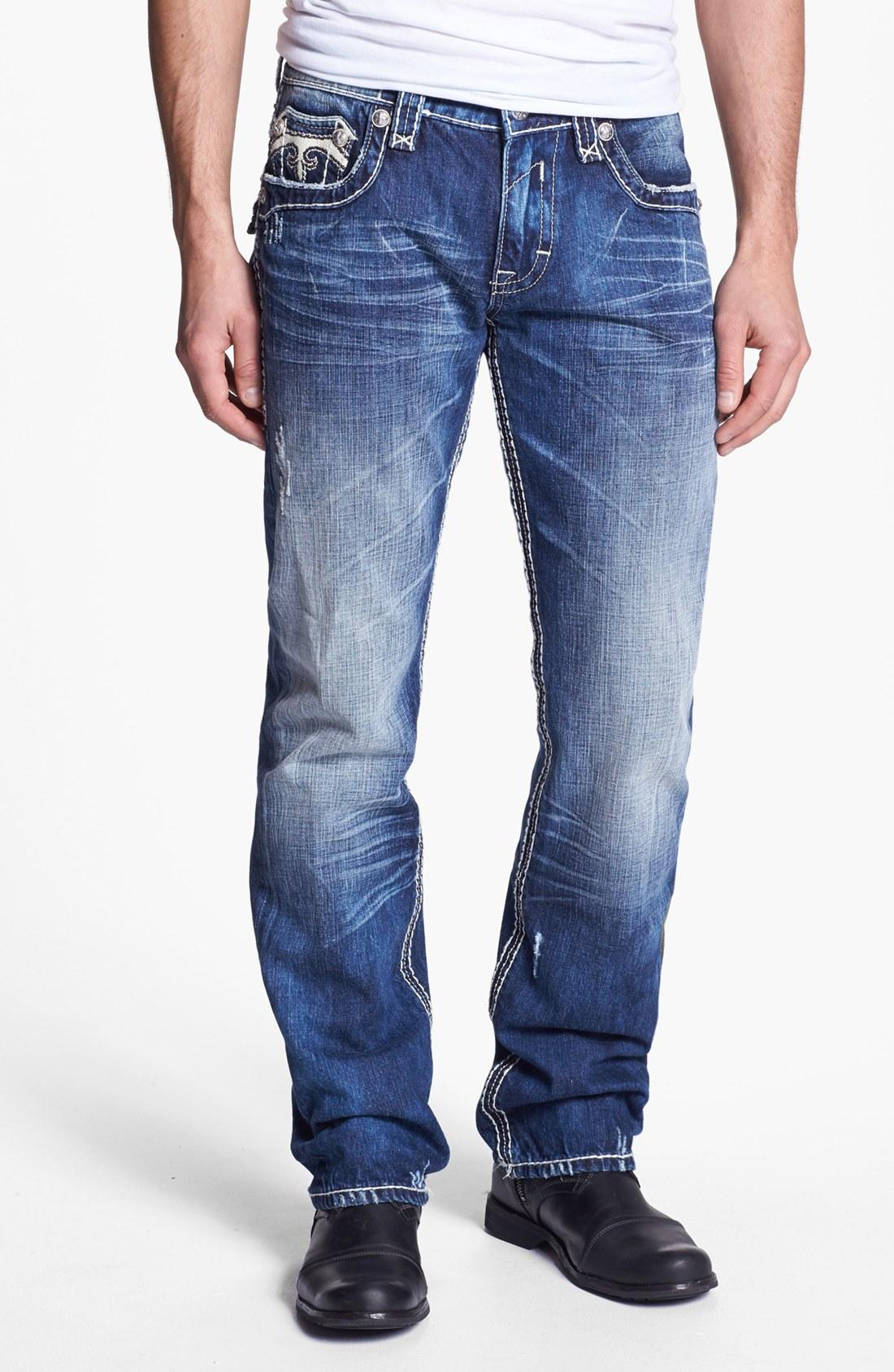 Rock Revival Mick Straight Leg Jeans Medium Blue in Blue for Men (medium blue) | Lyst