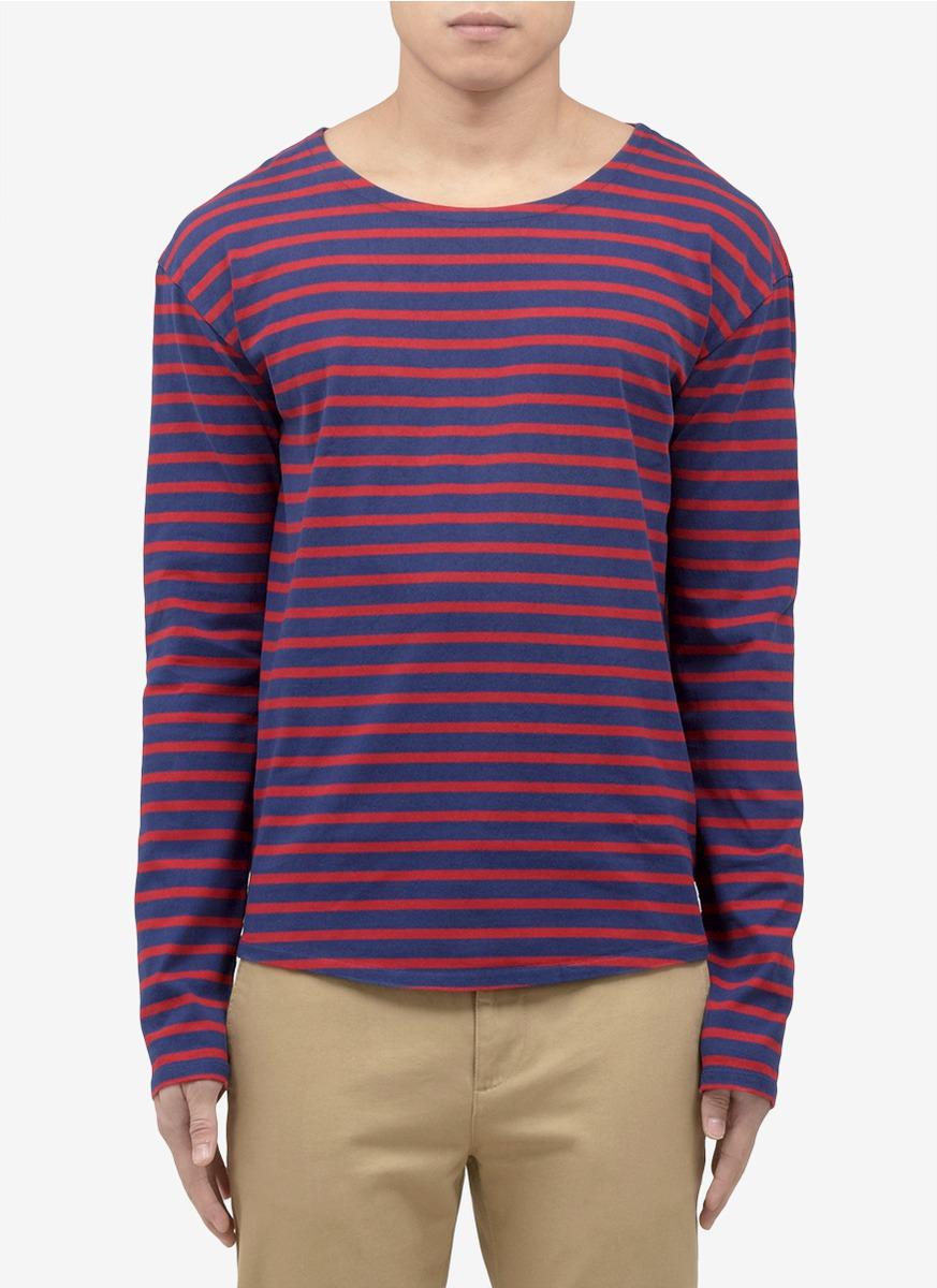 Scotch soda striped long sleeve t shirt in purple for for Blue and white striped long sleeve t shirt