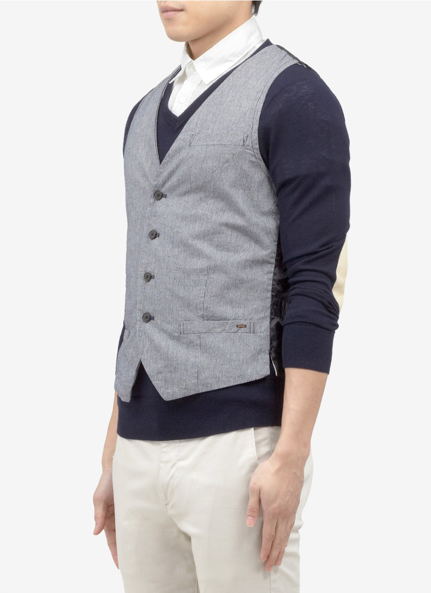 scotch soda contrast back striped chambray gilet in gray for men lyst. Black Bedroom Furniture Sets. Home Design Ideas