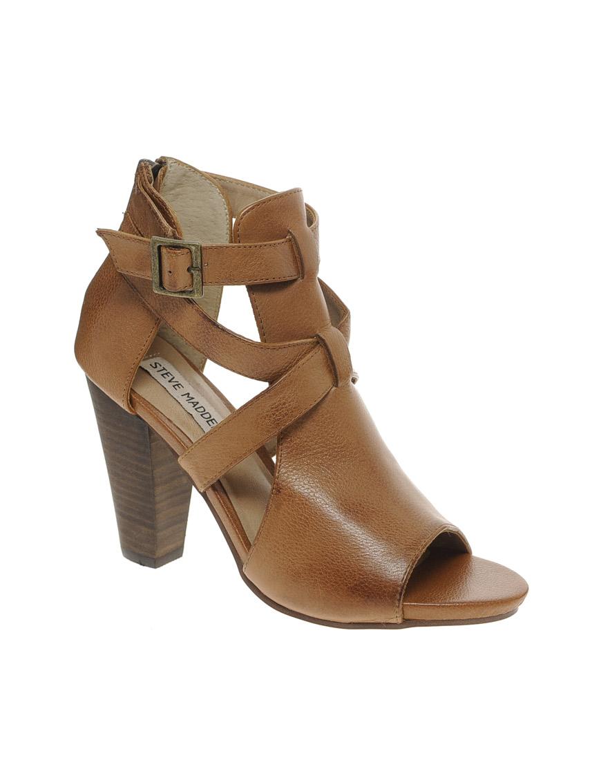 steve madden springg tan strap heeled sandals in brown tan lyst. Black Bedroom Furniture Sets. Home Design Ideas