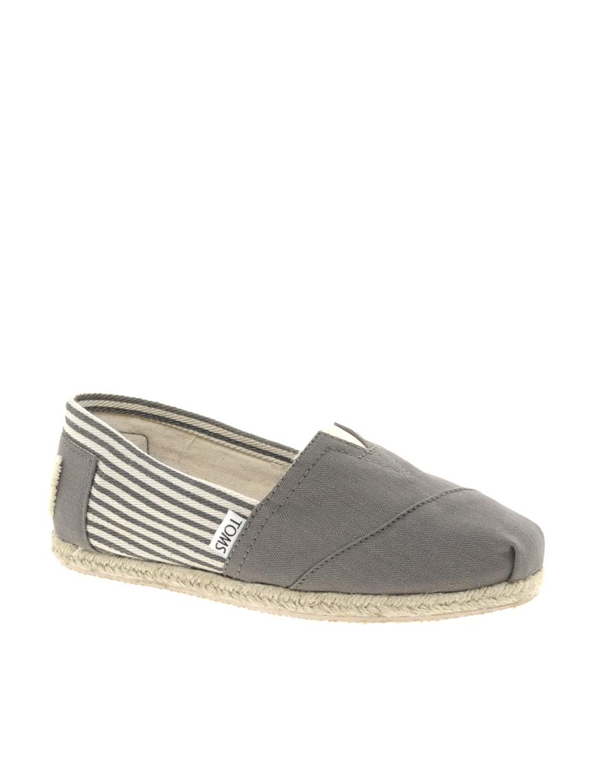 e335e0e3c09c TOMS Toms University Ash Gray Striped Espadrille Flat Shoes in Gray ...