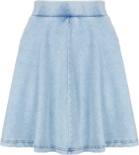 topshop high waisted denim look skater skirt in blue lyst