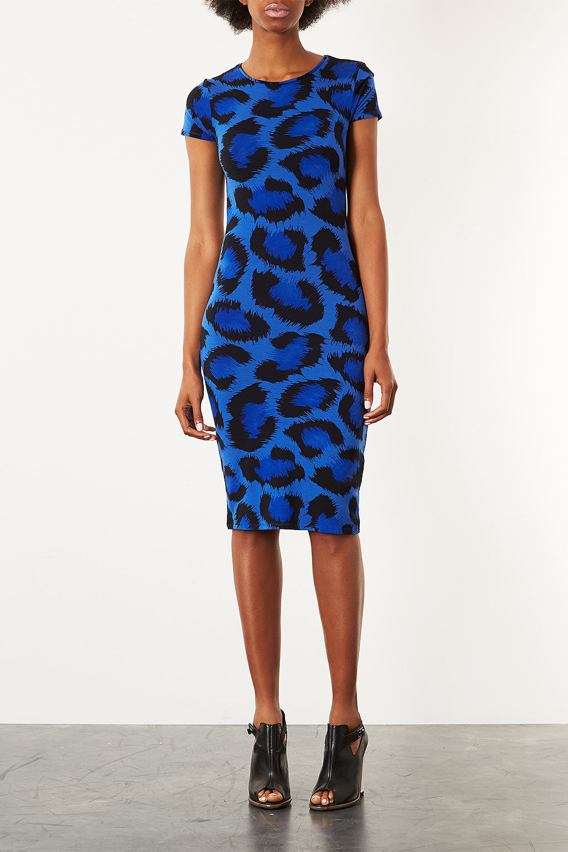 Topshop Leopard Cutout Back Bodycon Dress In Blue Lyst