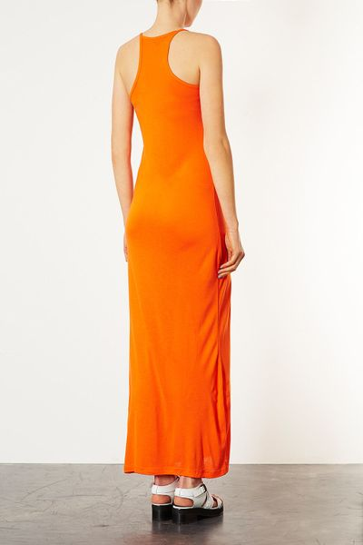 Topshop Strappy Cami Maxi Dress in Orange - Lyst