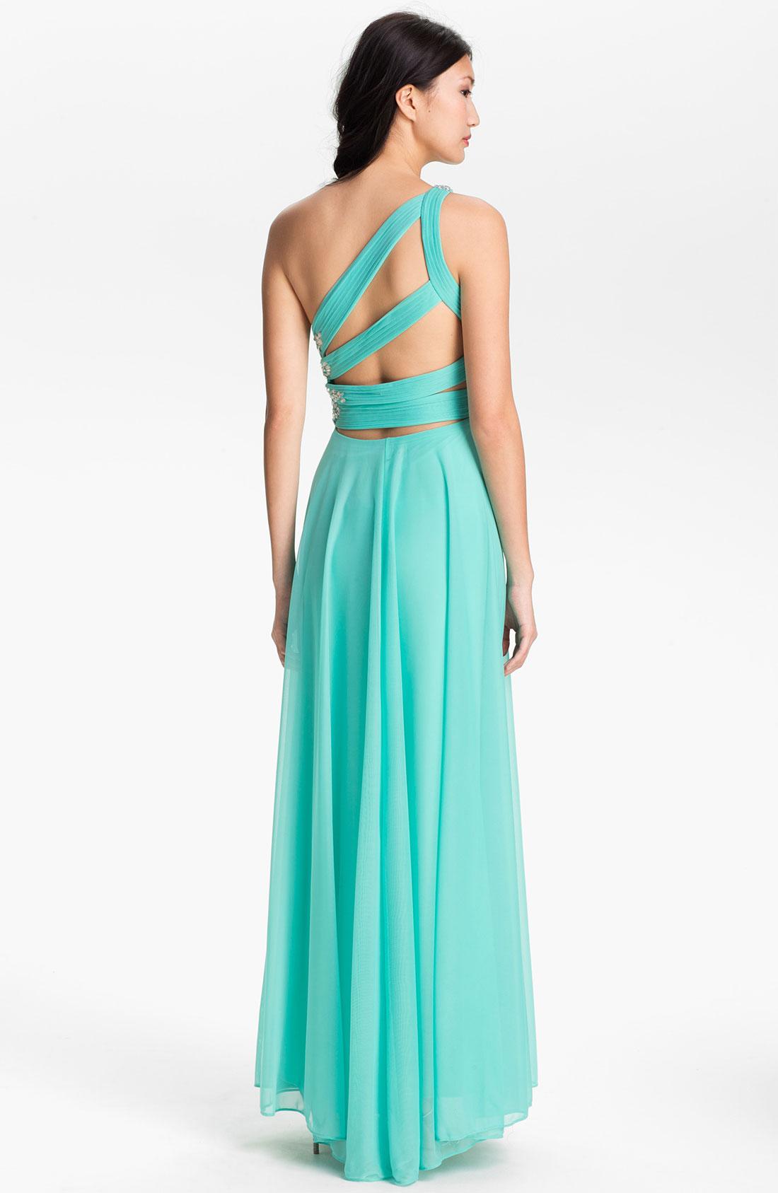 Turmec » xscape one shoulder glitter dress