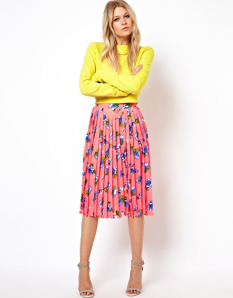 Asos Pleated Midi Skirt in Floral Print in Pink