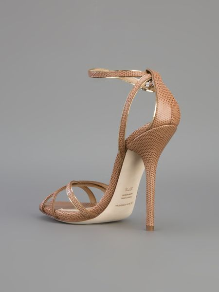Dolce Amp Gabbana Stiletto Sandal In Gold Brown Lyst
