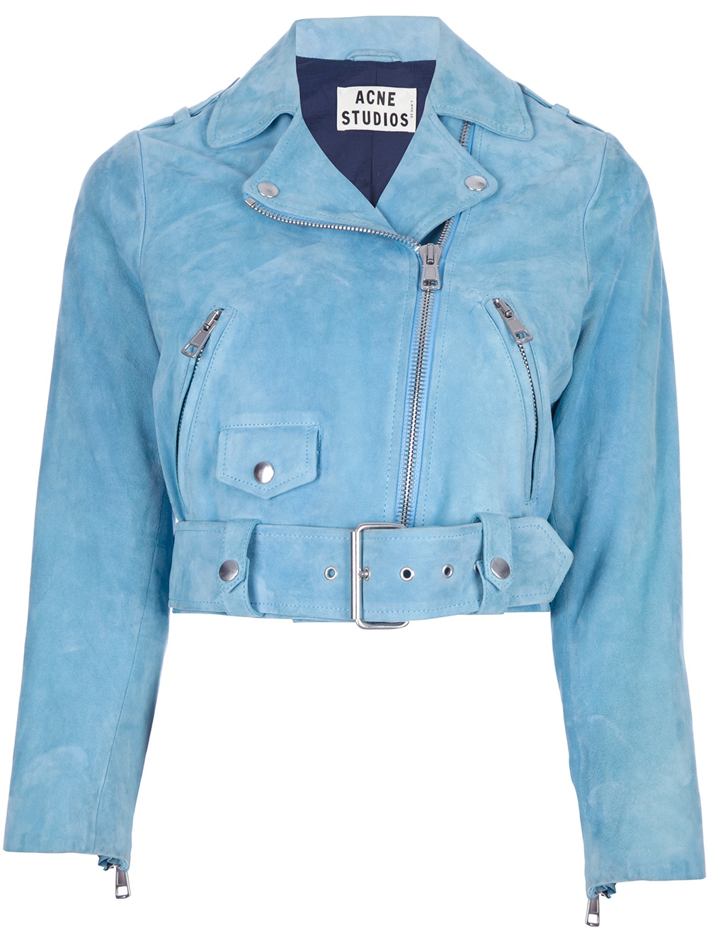 Lyst Acne Studios Cropped Biker Jacket In Blue