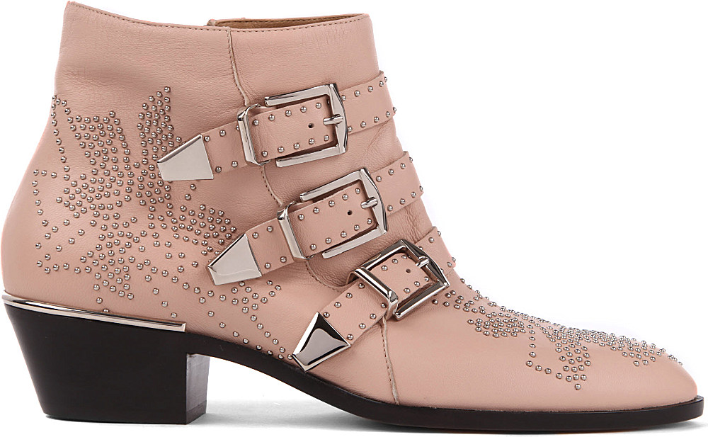 Chloé Banshee Leather Ankle Boots in Pale Pink (Pink)