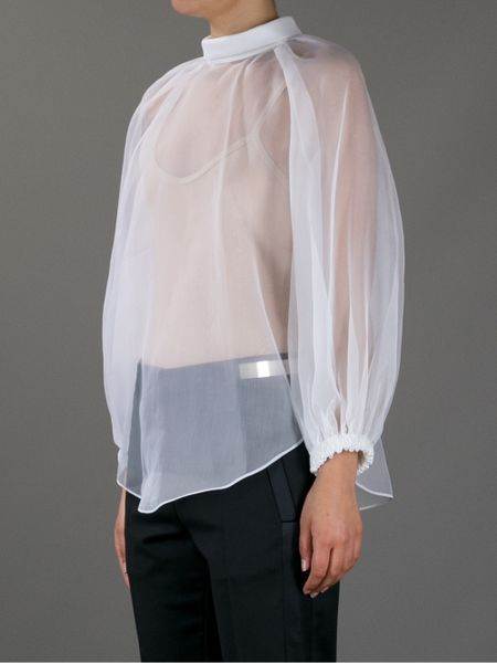 White Sheer Silk Blouse 83