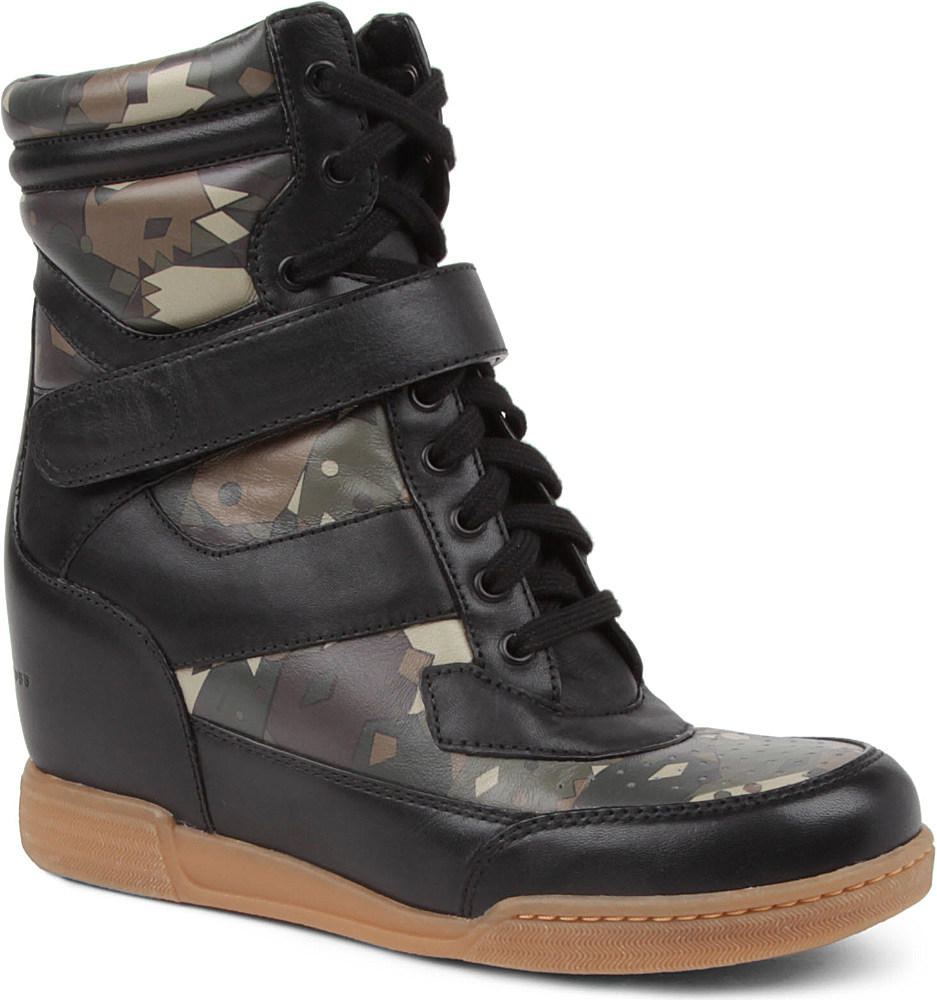 Marc By Marc Jacobs Kisha Camouflage Wedge Trainers in Black