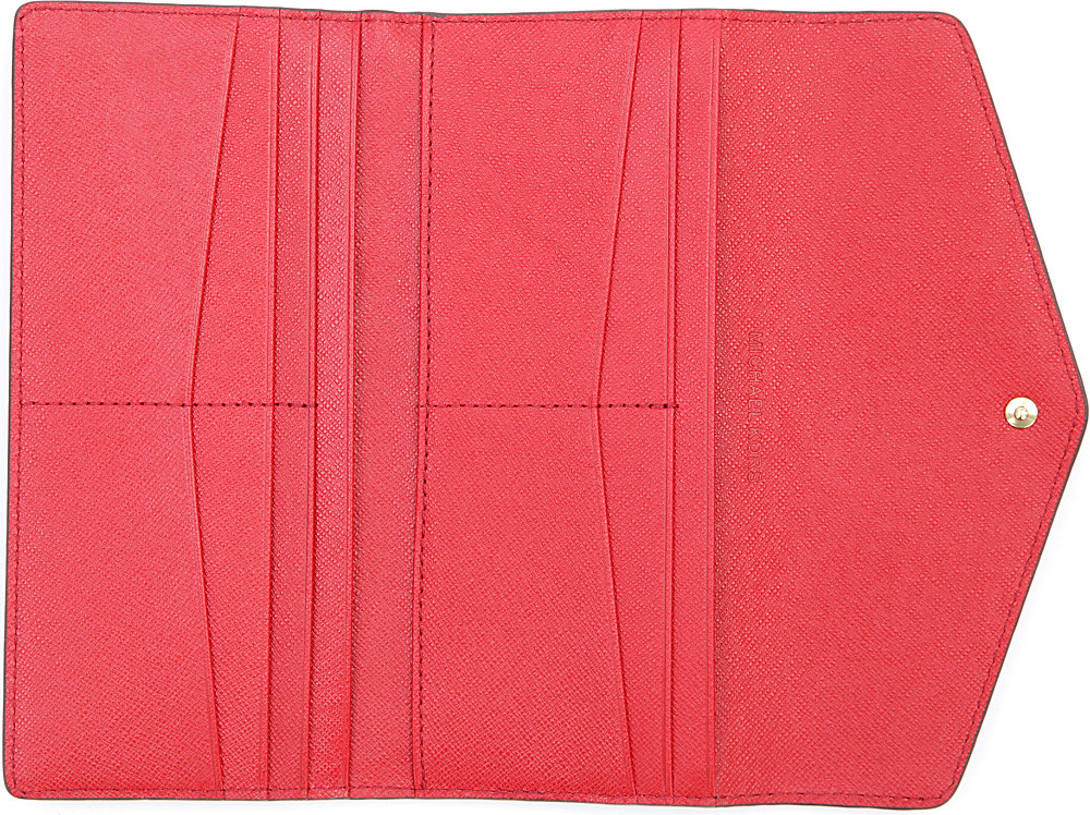 Michael Kors Logo Trifold Wallet In Brown Red Brown Lyst