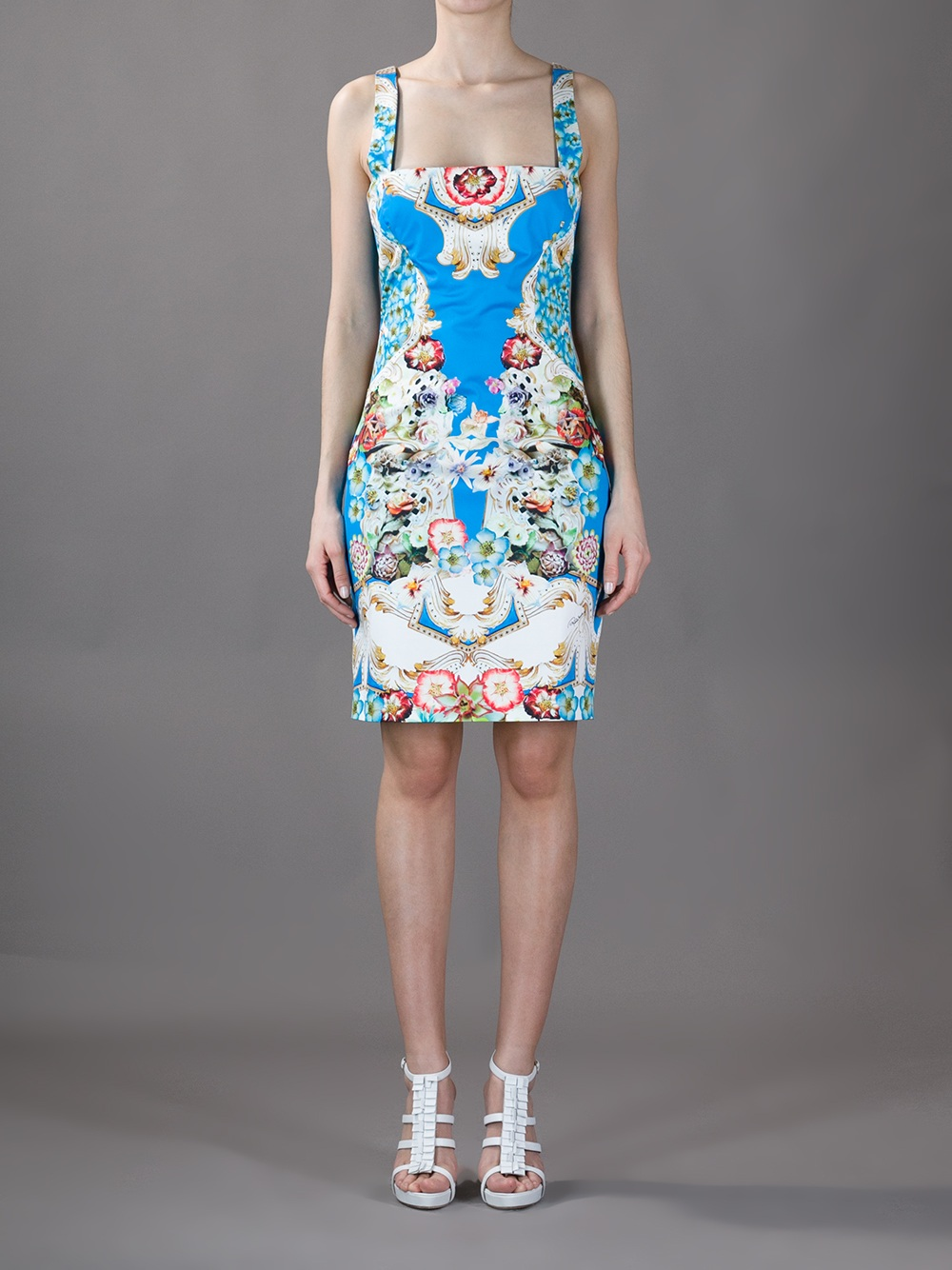 Roberto Cavalli Sleeveless Floral Print Dress In Blue Lyst