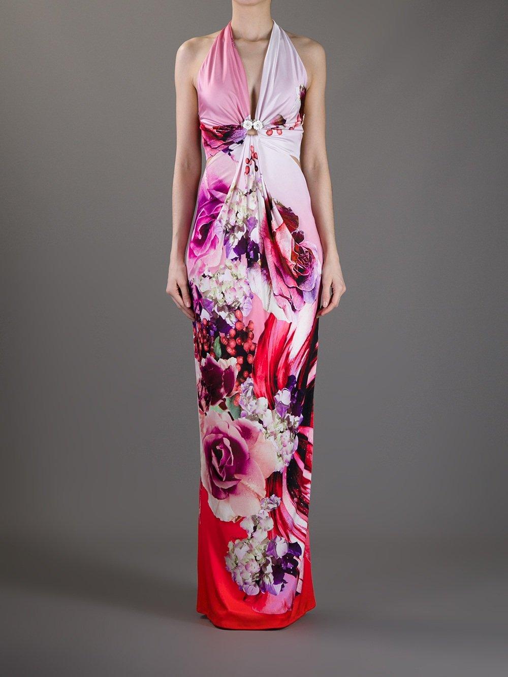 Roberto Cavalli Printed Halterneck Dress In Pink Lyst