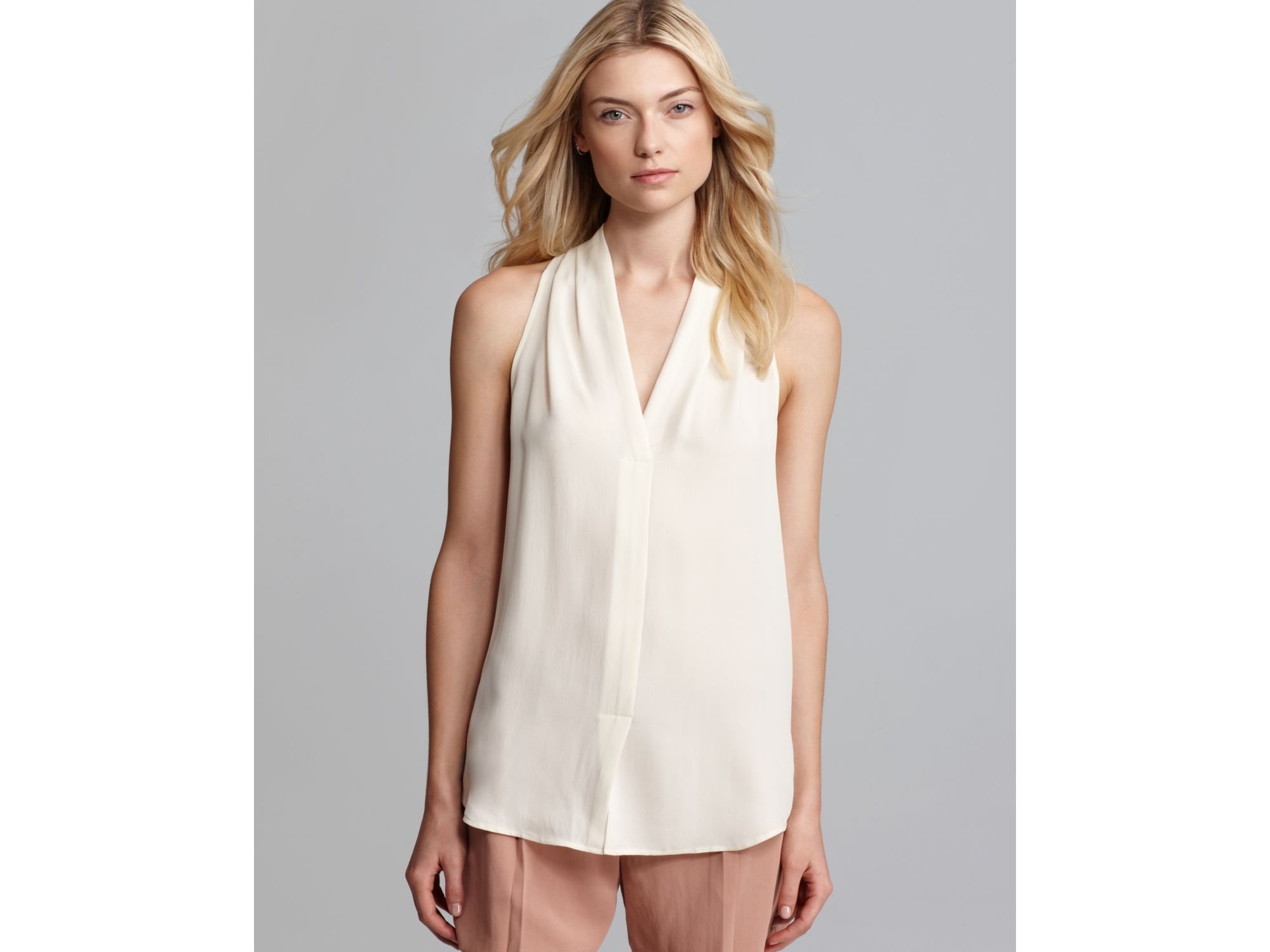 02c70f62a3e Theory Blouse Hylin Double Silk V Neck in White - Lyst
