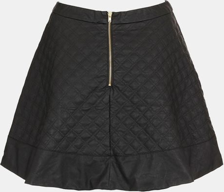 topshop quilted faux leather skater skirt in black
