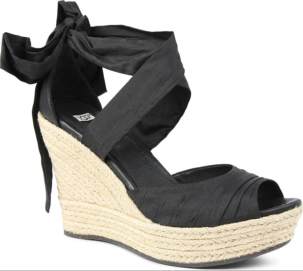 bbad359943a2 UGG Lucianna Silk Wedge Sandals in Black - Lyst