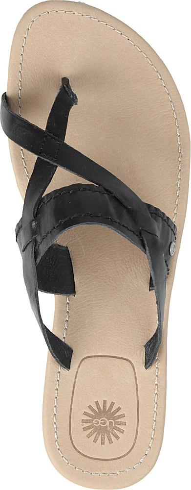 35334a3c812 UGG Mireya Leather Sandals in Black - Lyst