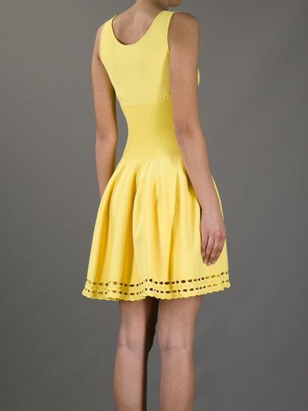Alexander Mcqueen Flared Sleeveless Dress In Yellow Lyst
