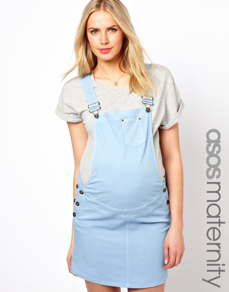 Lyst asos maternity pinafore dress in blue gallery ombrellifo Choice Image