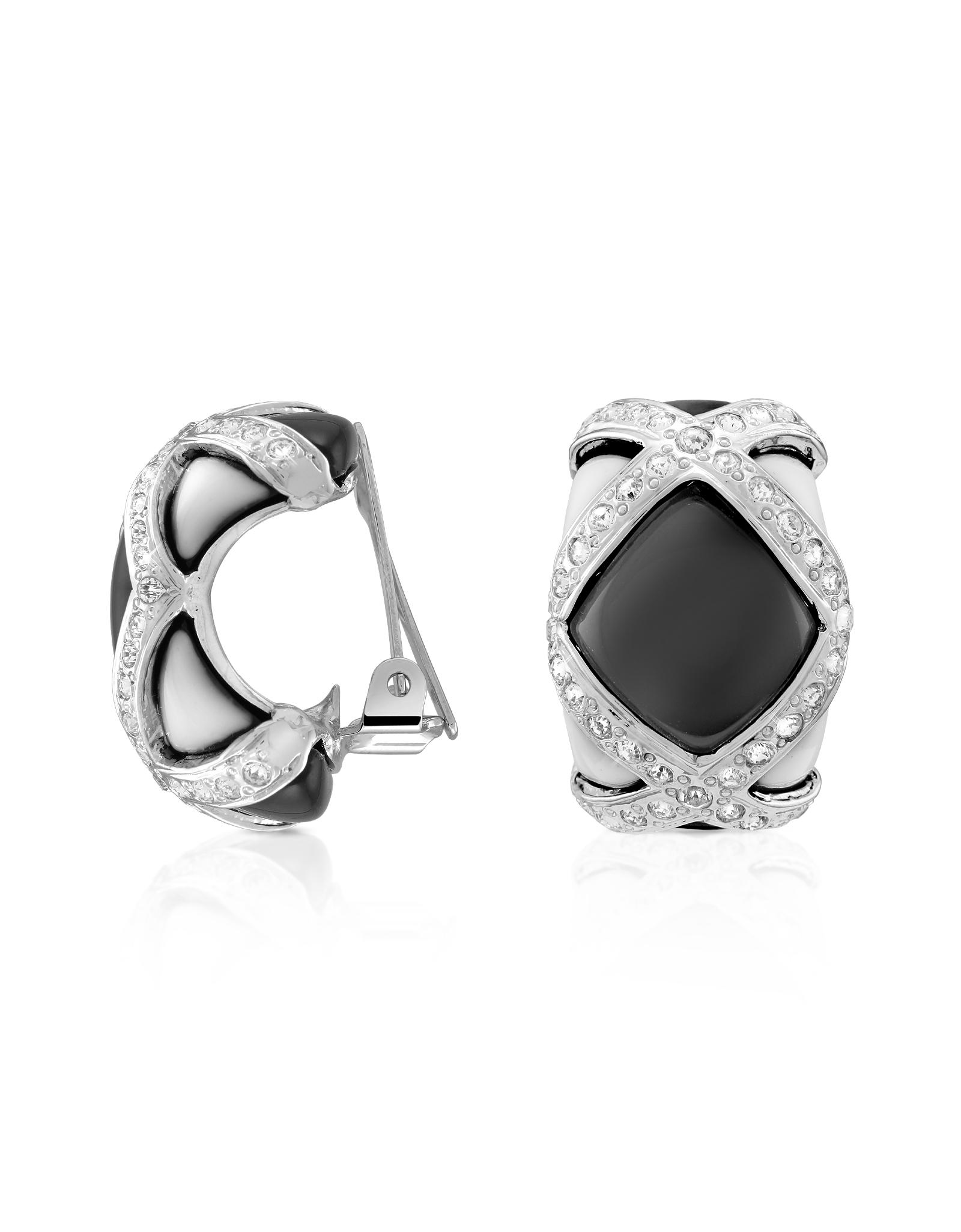 Lyst Az Collection Black Amp White Clip On Earrings In Black