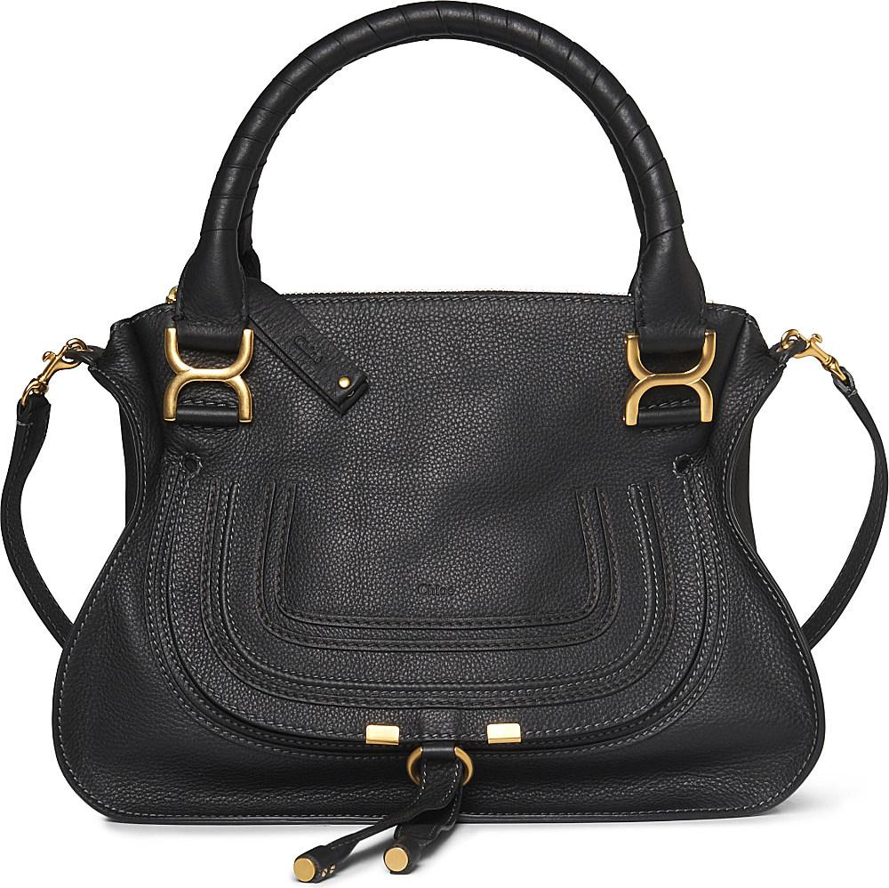 chlo marcie small leather shoulder bag in black lyst. Black Bedroom Furniture Sets. Home Design Ideas