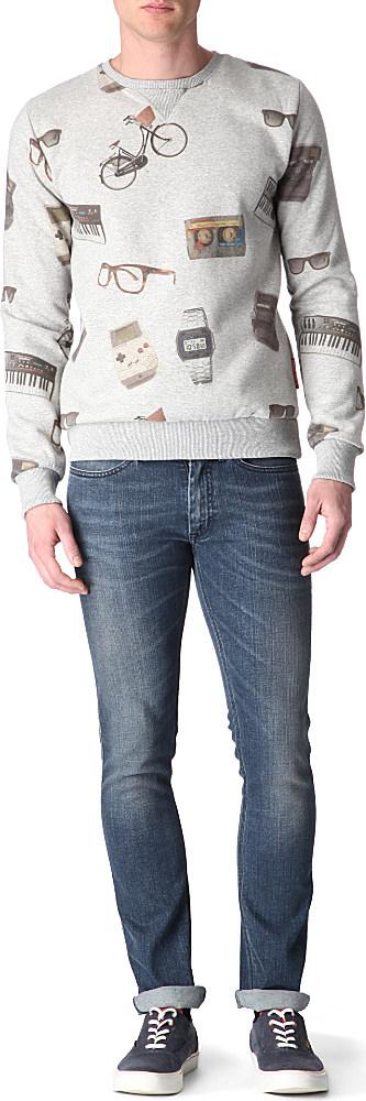 Criminal Damage Old School Sweatshirt in Grey Marl (Grey) for Men