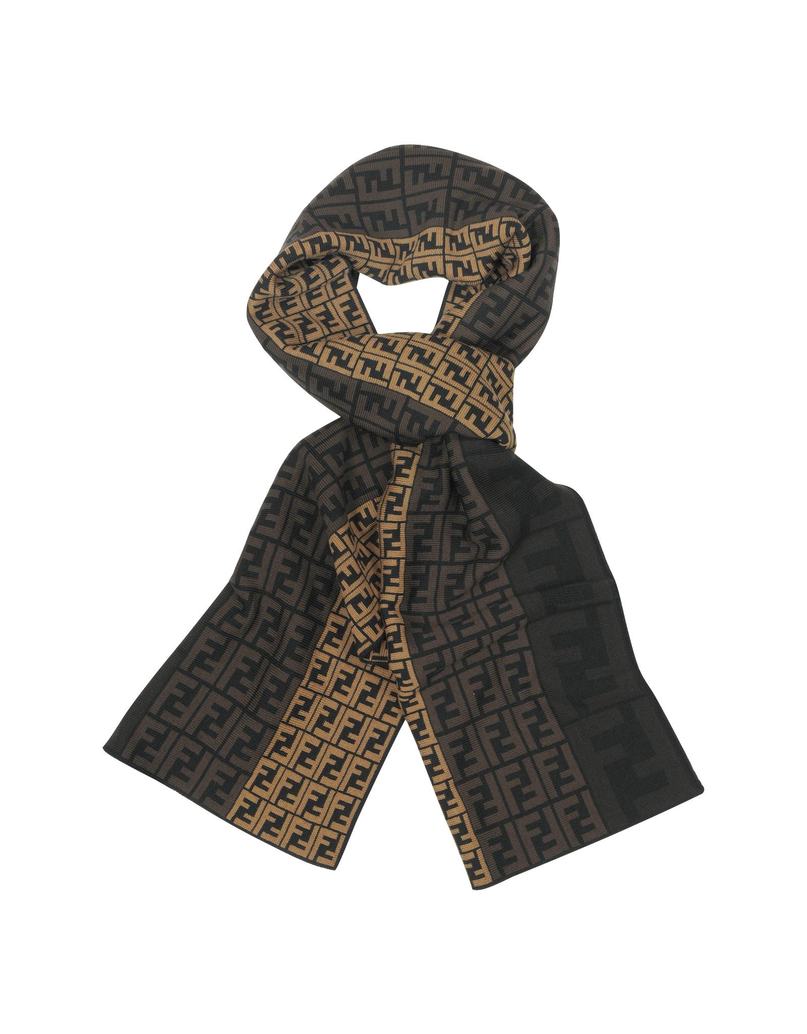 fendi zucca logo wool scarf in brown for lyst