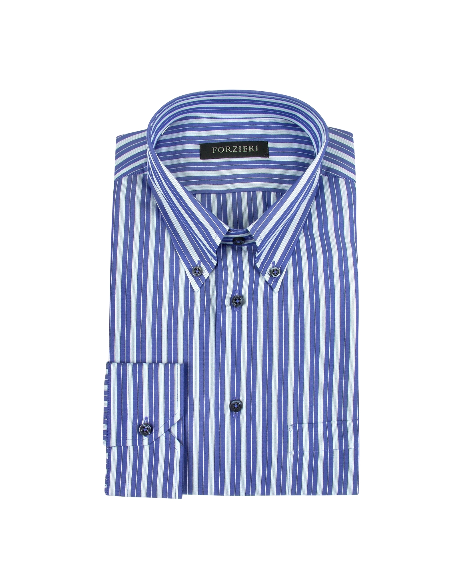 Forzieri Blue Striped Button Down Cotton Dress Shirt In