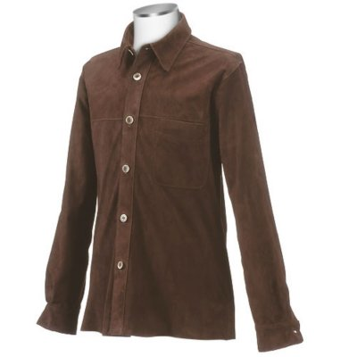forzieri mens brown italian suede leather shirtjacket in