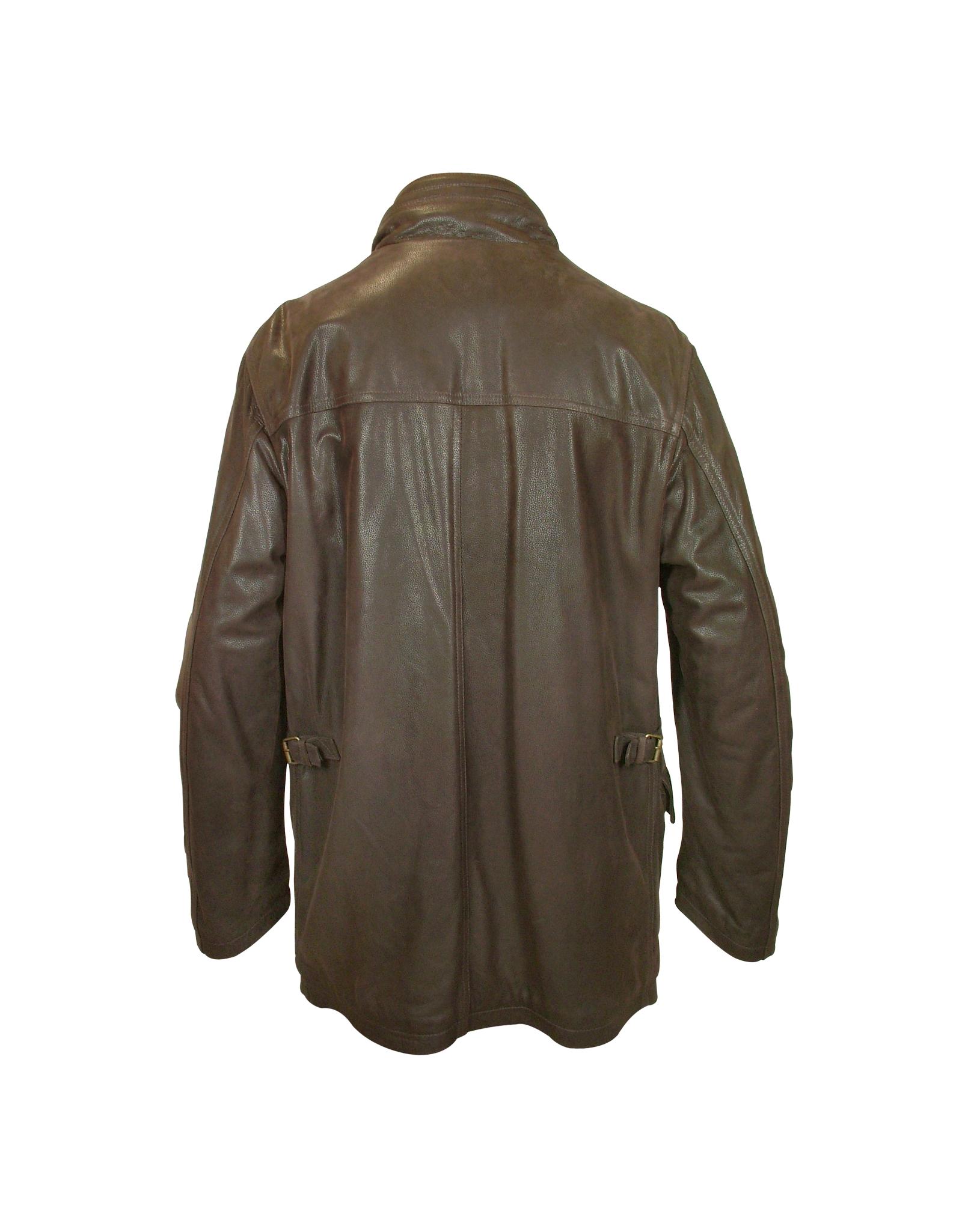 Forzieri Men's Dark Brown Leather Car Coat in Brown for ...