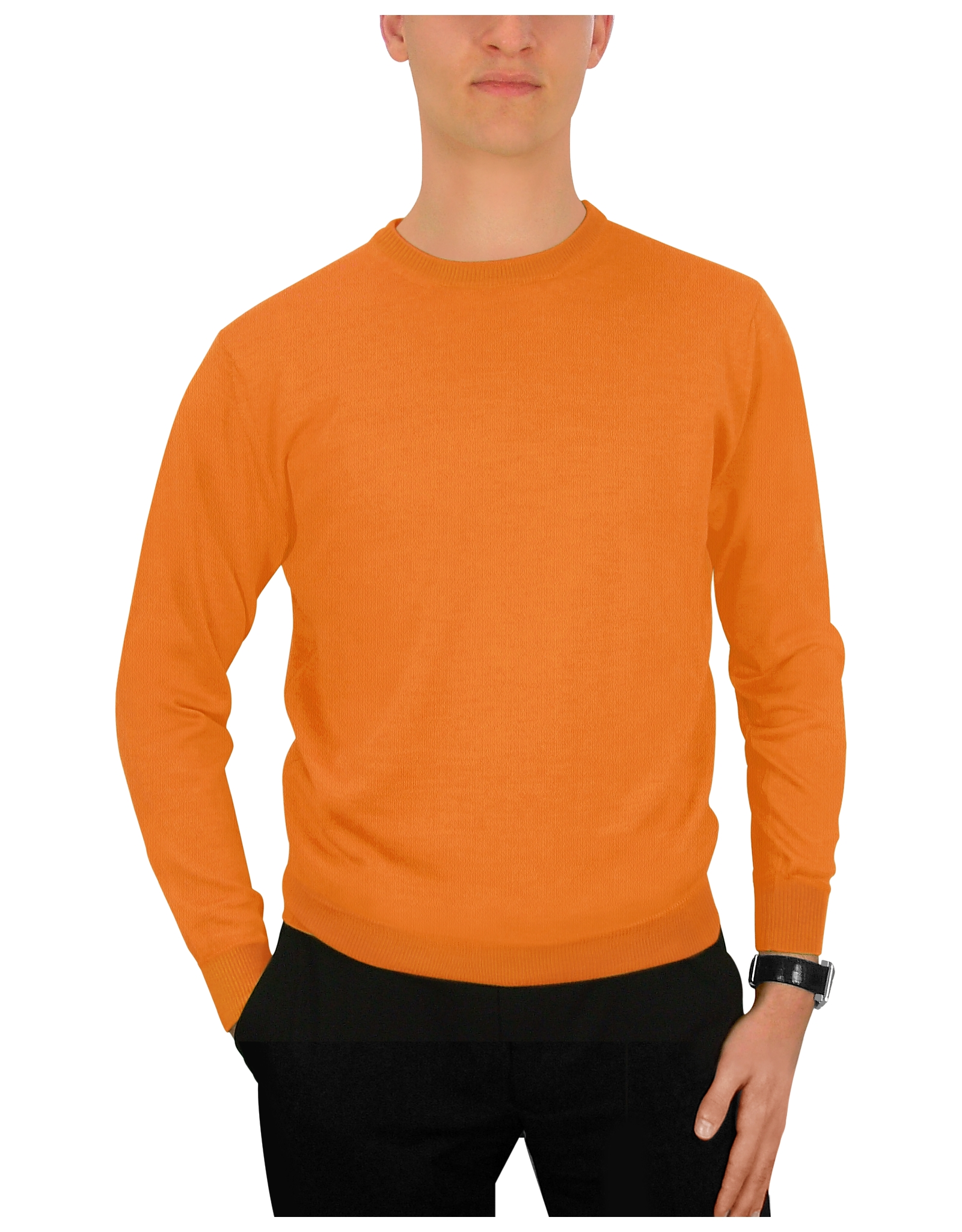 Forzieri men 39 s orange wool crewneck sweater in orange for for Mens red wool shirt