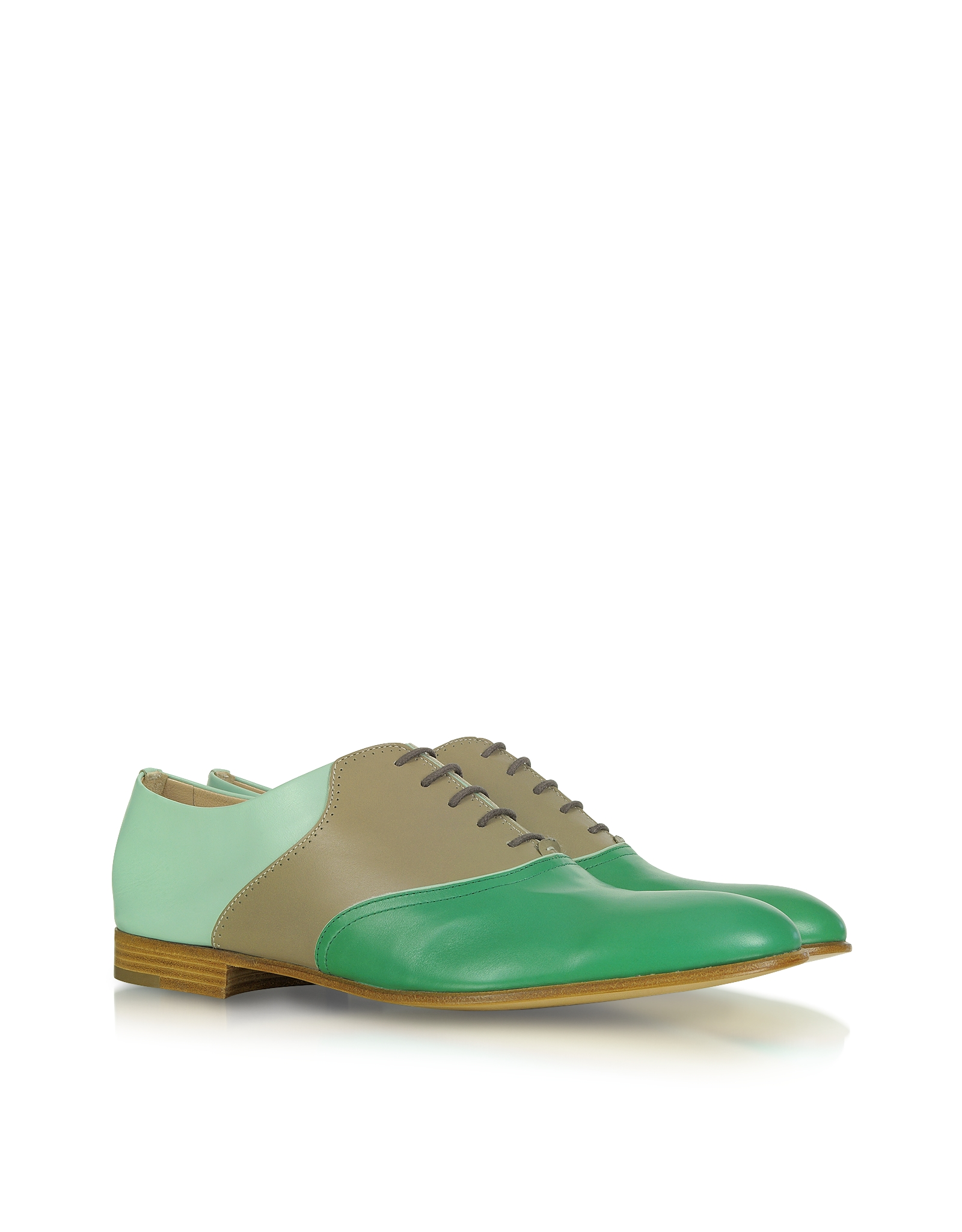 Fratelli Rossetti Color Block Leather Oxford Shoes In Green   Lyst