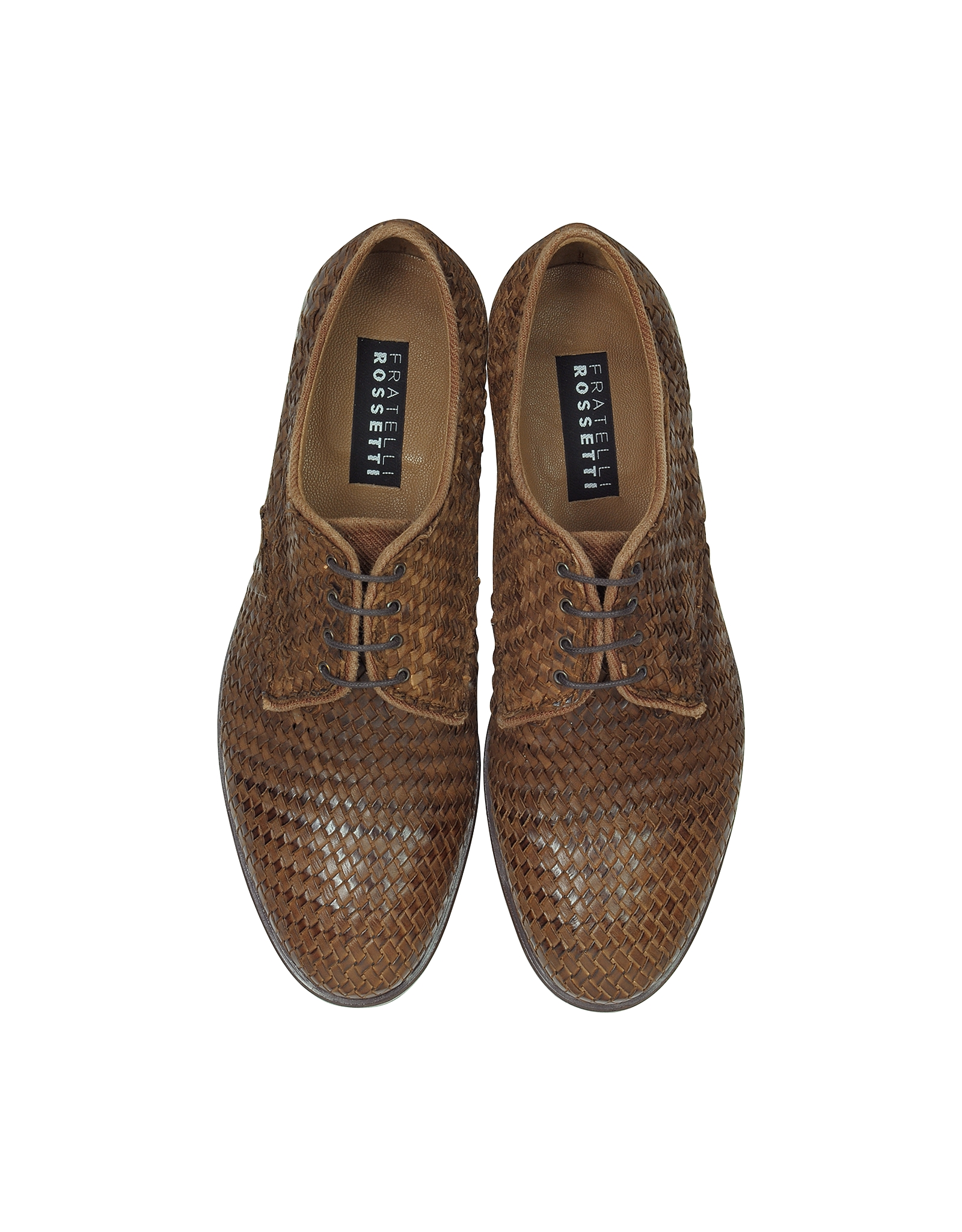 info for 91b50 4fca2 Fratelli Rossetti Derby Brown Woven Leather Shoes for Men - Lyst