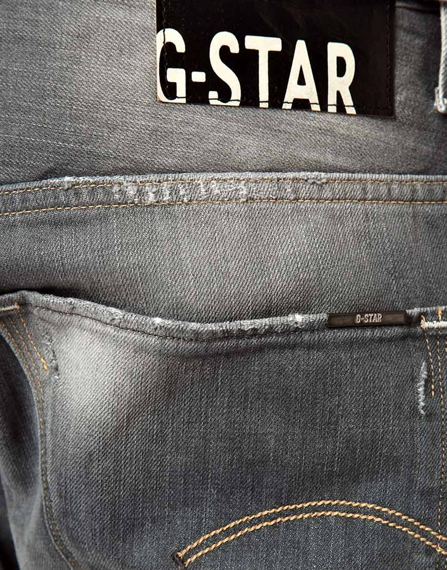 star raw g star jeans arc 3d slim med aged destroy in gray for men. Black Bedroom Furniture Sets. Home Design Ideas