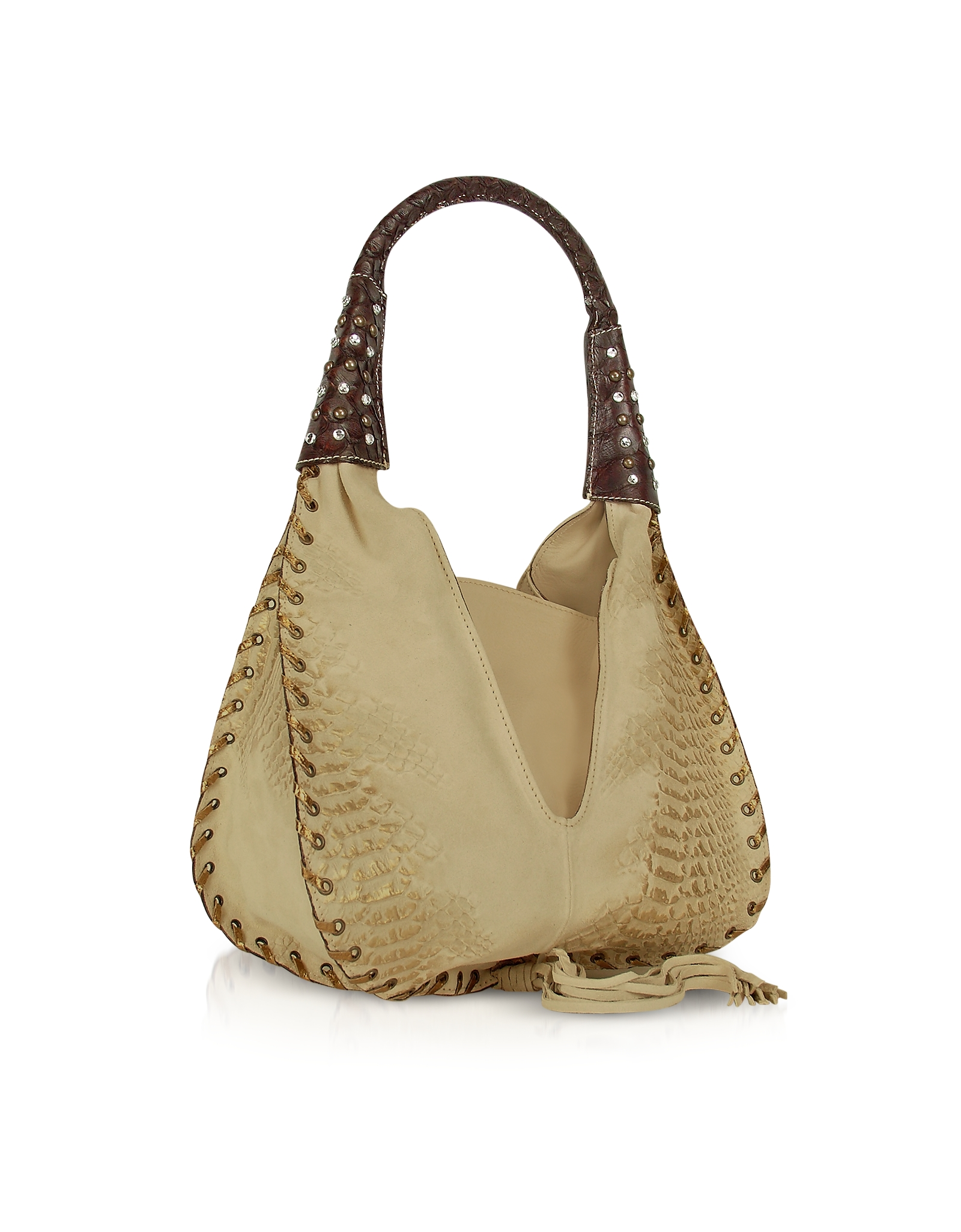 Ghibli Jeweled Beige Suede And Reptile Leather Hobo Bag In