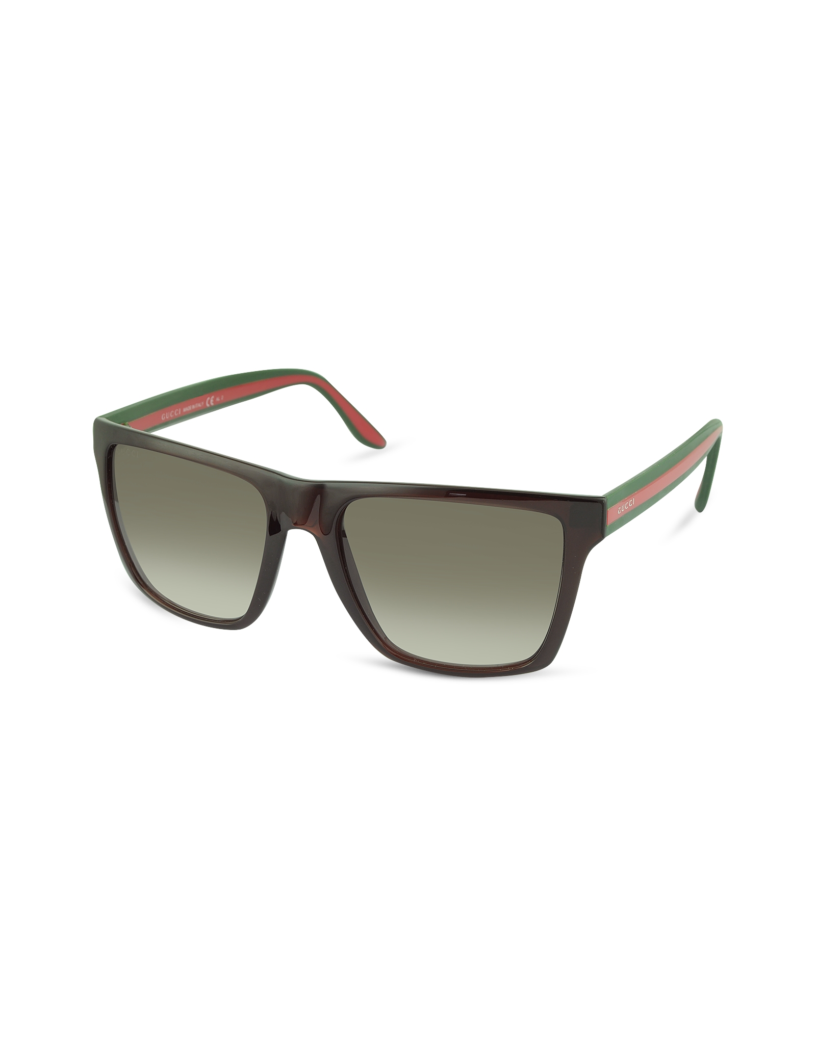 gucci large rectangle frame sunglasses in brown lyst