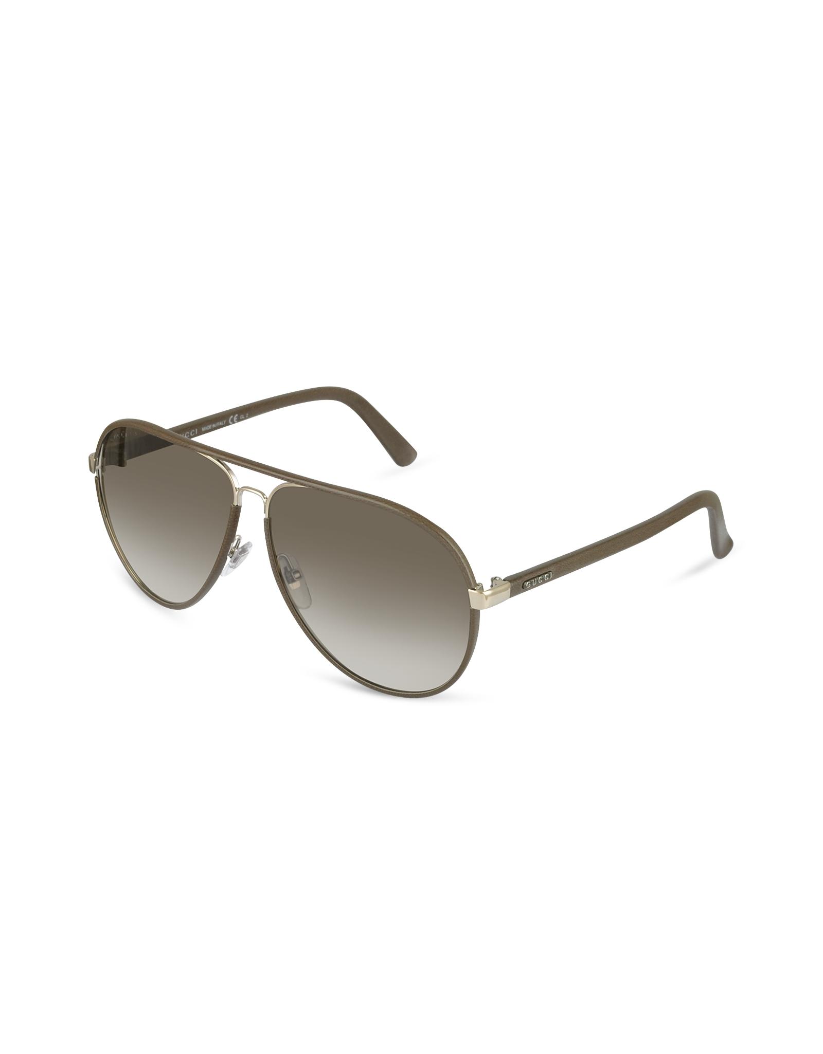 Lyst Gucci Mens Logo Leather Aviator Sunglasses In Brown