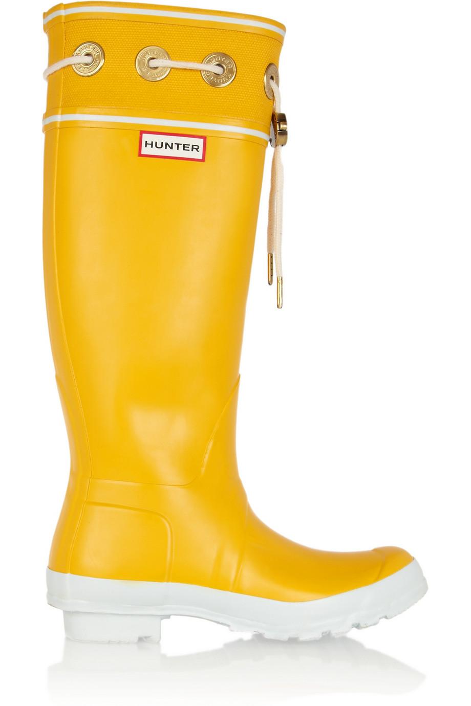 Hunter Thurlestone Wellington Boots In Yellow Lyst