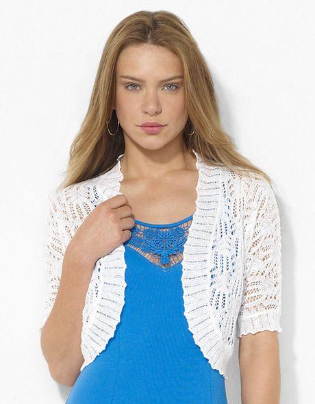 Lauren By Ralph Lauren Pointelle knit Linen Shrug in White