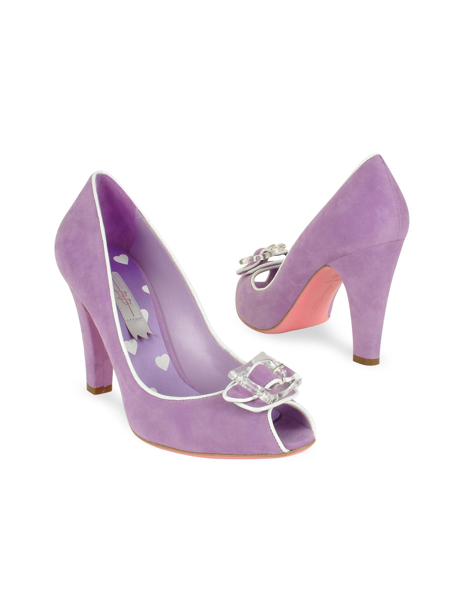Mario Bologna Lilac Suede Peep Toe Pump Shoes In Purple Lyst