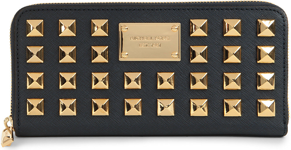 7891de9927a5 Michael Kors Pyramid Studded Saffiano Leather Wallet in Blue - Lyst