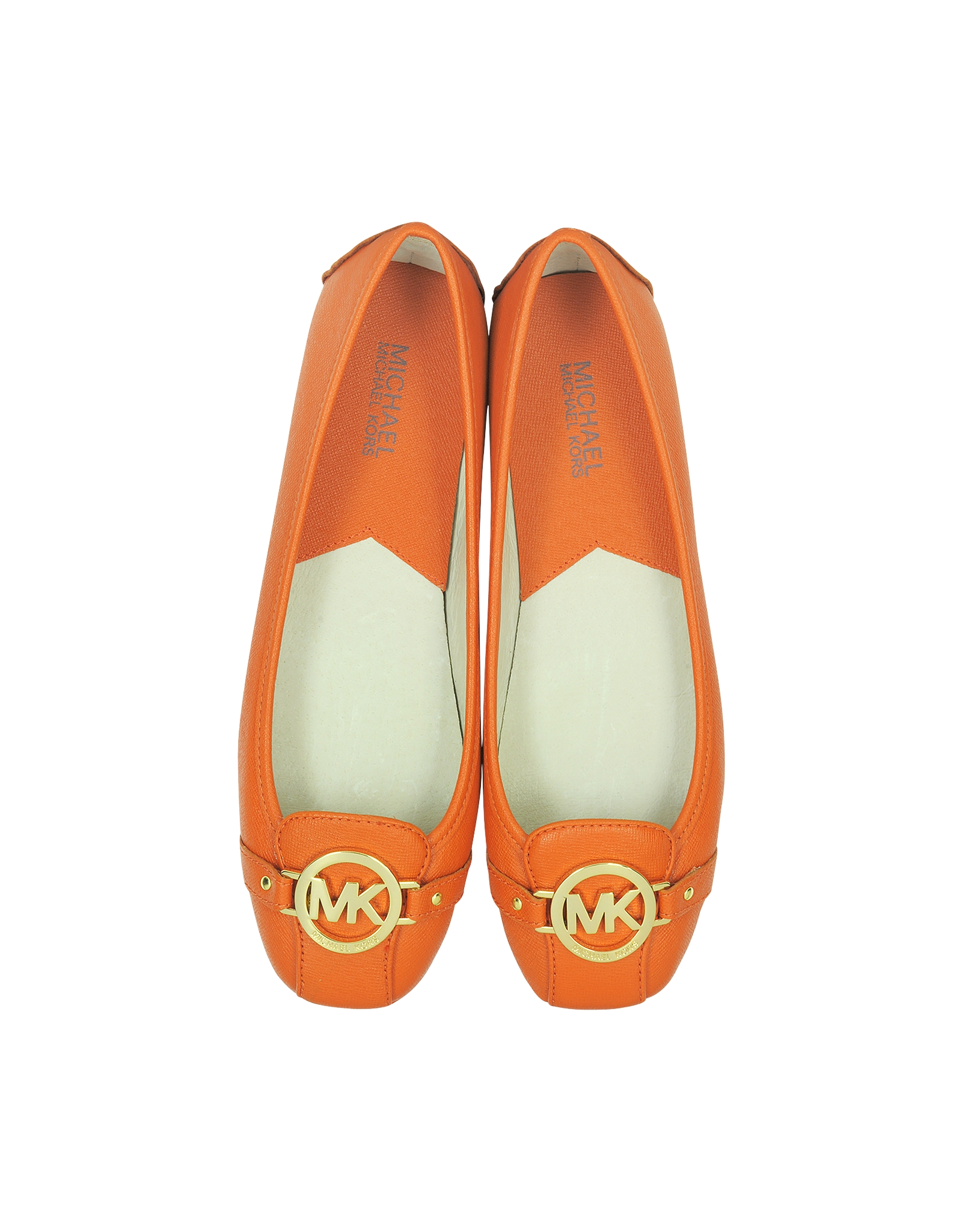 michael kors fulton orange leather flat ballerina in orange lyst. Black Bedroom Furniture Sets. Home Design Ideas