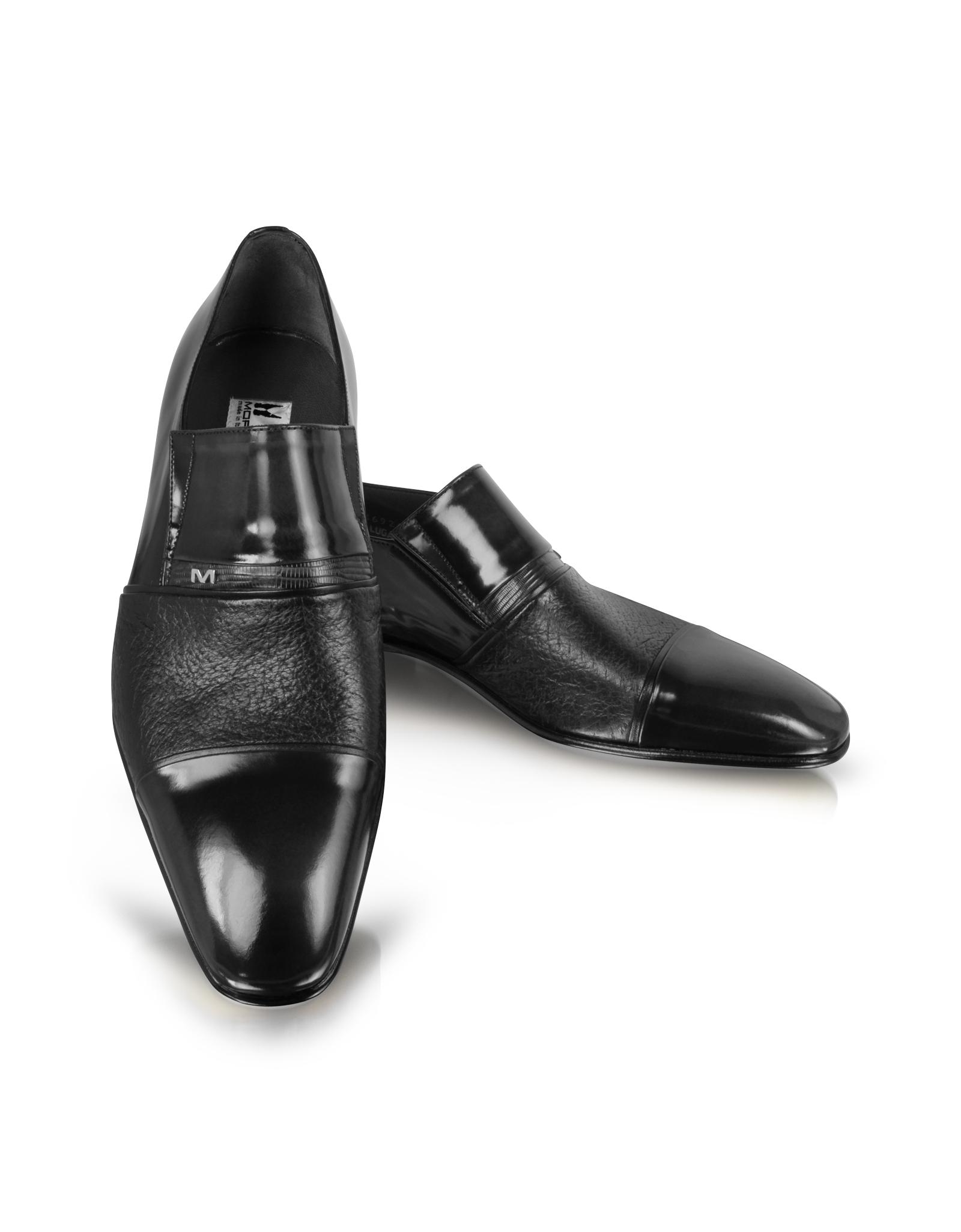 Saint Laurent Black Leather And Lase Shoes