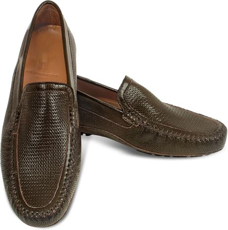 moreschi brown perforated patent leather driving