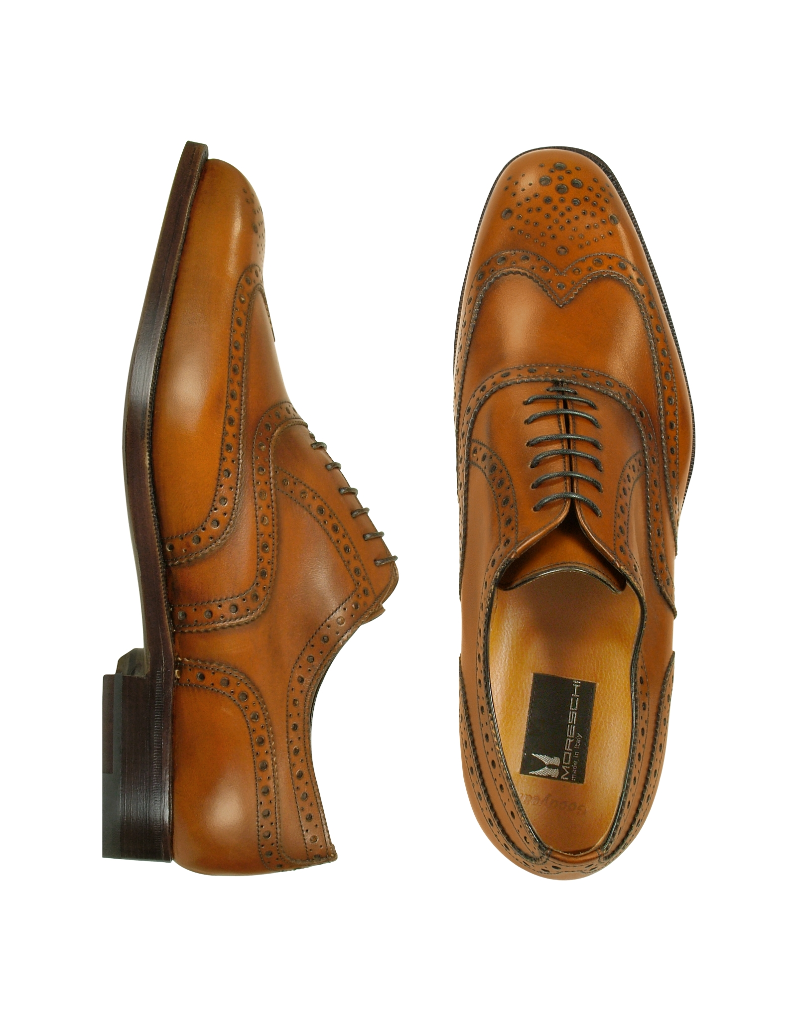 Brown White Wingtip Shoes