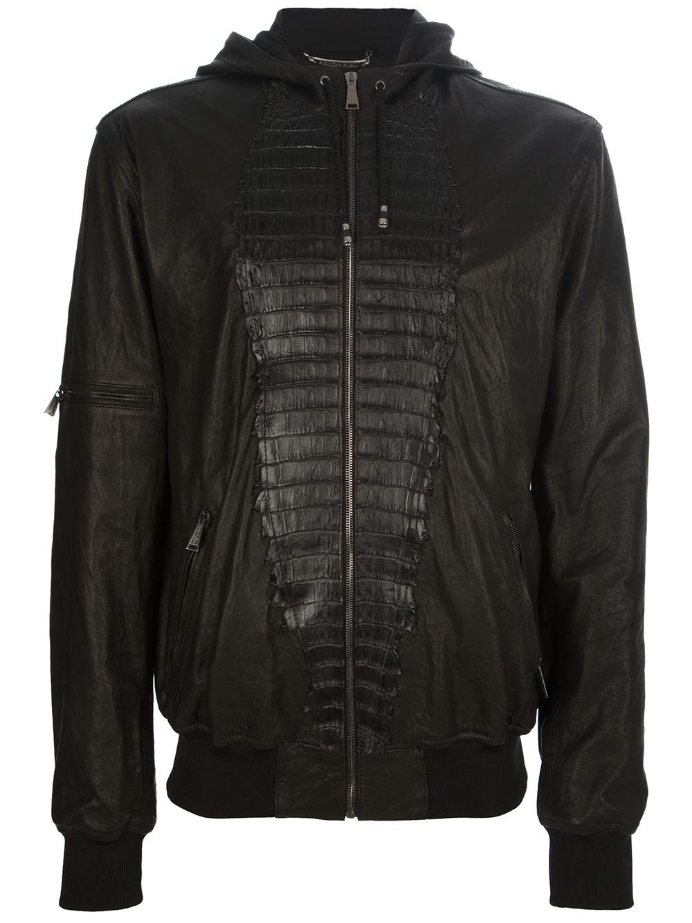 philipp plein skyline leather jacket in black for men lyst. Black Bedroom Furniture Sets. Home Design Ideas