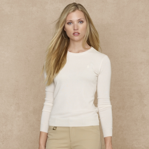 Ralph lauren blue label Cashmere Crewneck Sweater in Natural | Lyst