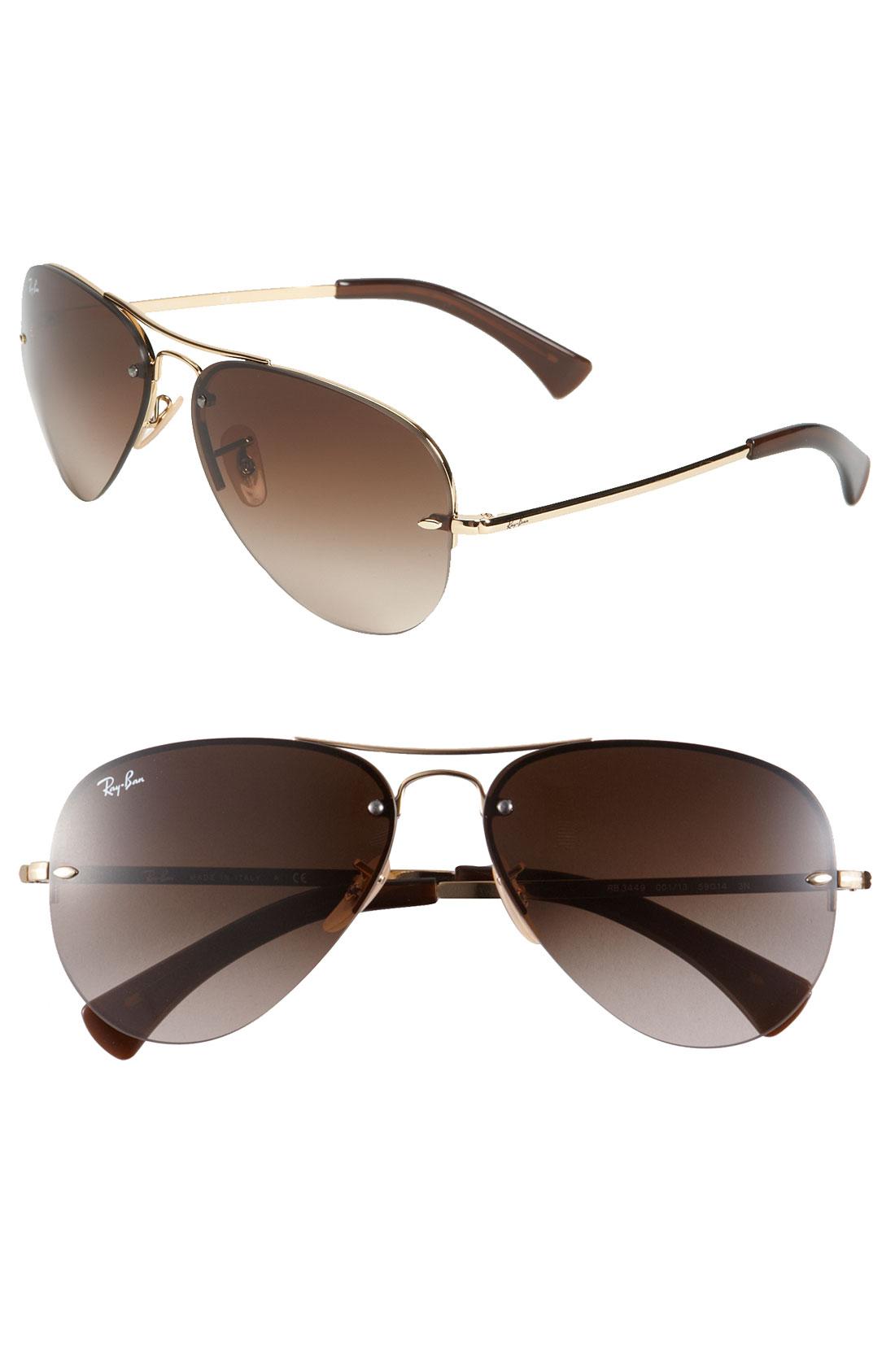 Ray-ban 59Mm Semi Rimless Aviator Sunglasses in Gold ...