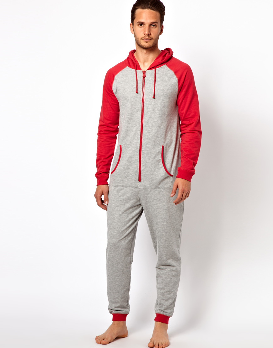 Lyst river island grey raglan onesie in red for men for Mens dress shirt onesie